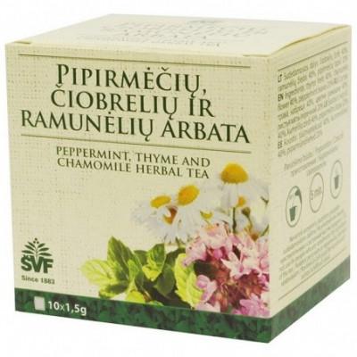 Pipirmėčių, čiobrelių, ramunėlių arbata ŠVF 1,5 g x10