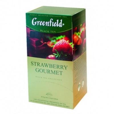 Juodoji arbata GREENFIELD Strawberry Gourmet, 25 vnt.