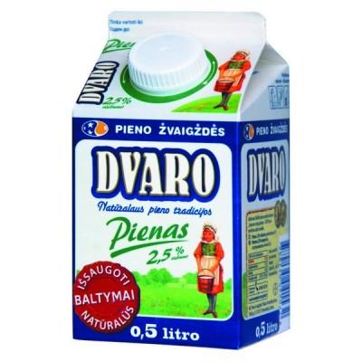 DVARO pienas  2,5% rieb., 0,5l, t-rex su kamšt.