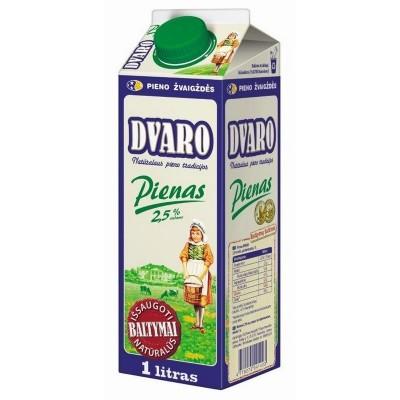 DVARO pienas 2,5% rieb.,1l t-rex su kamšt.