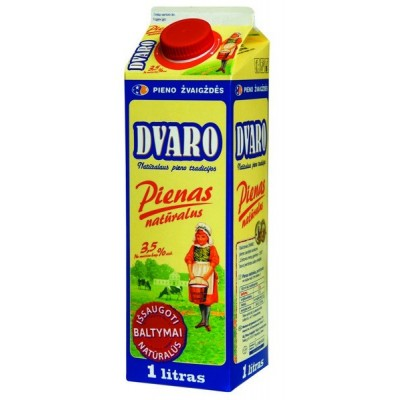 DVARO pienas 3,5% rieb., 1l t-rex su kamšt.