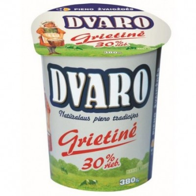Grietinė DVARO 30% rieb., 380 g, pol. ind.