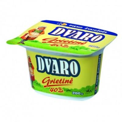 Grietinė DVARO 40% rieb., 200 g, pol. ind.