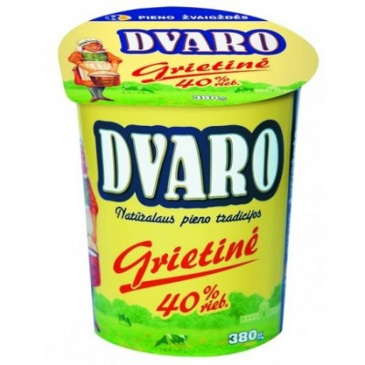 Grietinė DVARO 40% rieb., 380 g, pol. ind.