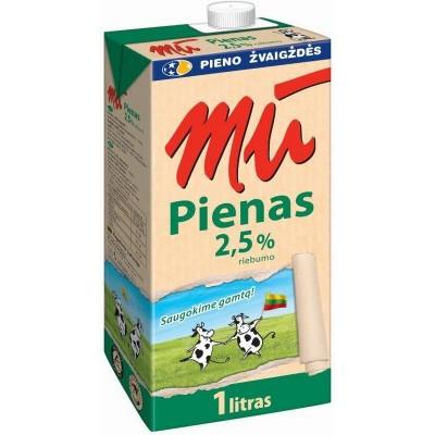 Pienas MŪ 2,5% rieb.,1l t-brik UAT