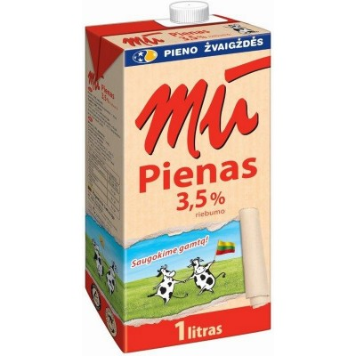 Pienas MŪ 3,5% rieb.,1l t-brik UAT