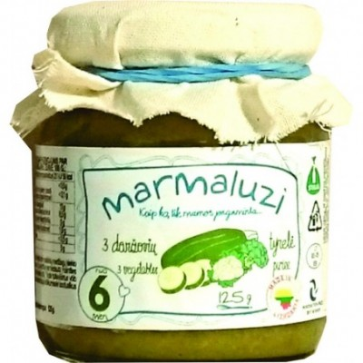 3- jų daržovių tyrelė MARMALUZI ( nuo 6 mėn), 125 g