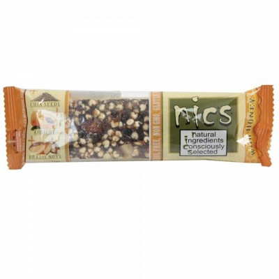 Batonėlis NICS su riešutais, abrikosais ir chia sėkl., 40 g