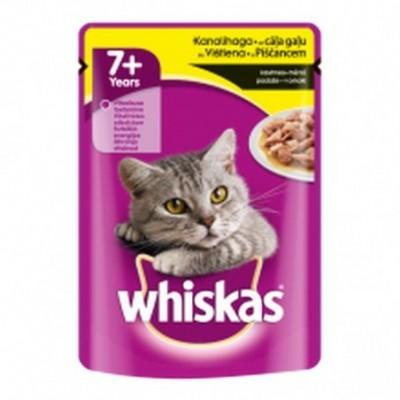 Kačių ėdalas WHISKAS  su vištiena, vyresnėms nei 7m., 100 g