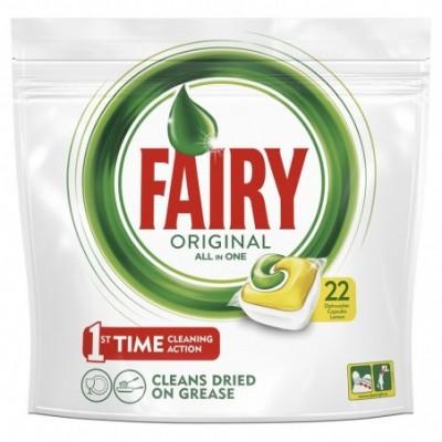 Automatiniu indaplovių kapsules fairy all in 1 lemon22 vnt