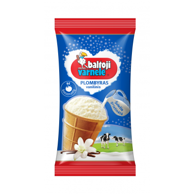 Ledai BALTOJI VARNELĖ vanilinis plombyras, 120ml