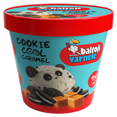 BALTOJI VARNELĖ vanilinis plombyras su karamele ir sausainiais, 950 ml